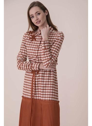 Vivencia Şifon Pilise Detaylı Elbise  Kiremit